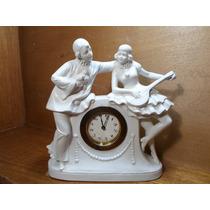 Figura Arlequines En Porcelana De Biscuit Alemana Con Reloj