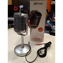 Microfono Vintage Retro Pc Con Soporte Plug 3,5mm. Noganet