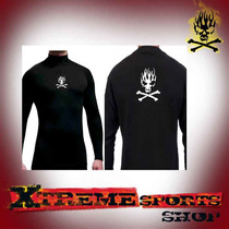 Remera Termica Devil Dog Skull Flame