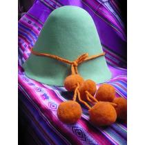 Autentico Sombrero Coya De Fieltro Decorado Con Tulmas Jujuy