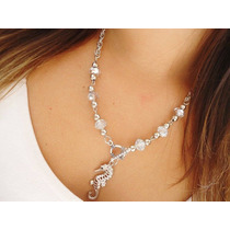 Collar Cadena Aluminio Con Cristal De Roca Y Dije Con Strass