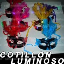6 Antifaces Mascara Veneciana Con Luz Led Cotillon Luminoso