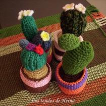 Cactus Decorativo Tejido A Crochet