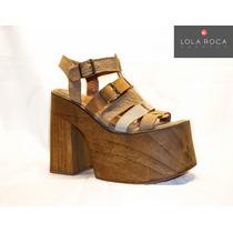 1b72247a Sandalias Lola Roca Plataforma De Madera, Calzado De Mujer en venta ...