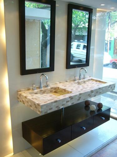 Bachas Para Baño Con Griferia:Mesada Bacha Doble Con Cajonera Flotante (Muebles de Baño) a ARS 4500