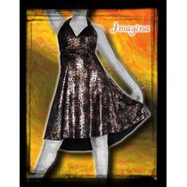 Vestido De Seda Fria Con Foil Color Cobre, Esc Marylin