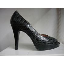 Zapato Stiletto Plataforma Peep Toe Woodland Estilo Croco
