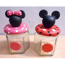 Souvenirs Frasquitos Mickey Y Minnie Mouse