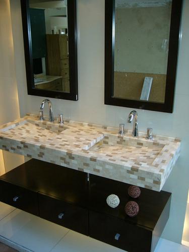 Bachas Para Baño Con Pie:Mesada Bacha Doble Con Cajonera Flotante (Muebles de Baño) a ARS 4500