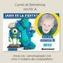 Cartel Bienvenida Cumpleaños Personalizad Monster University
