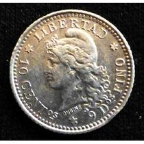 10 Centavos De Patacón. Plata. 1882.