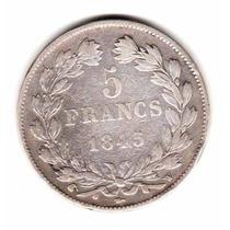 Moneda Francia Plata Año 1845 W Rey Luis Felipe I Muy Buena