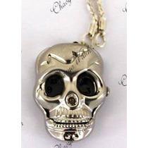 Reloj Colgante Calavera Skull Collar Ac Inox Plata &$23410$&