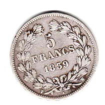 Moneda Francia Plata Año 1839 W Rey Luis Felipe I Muy Buena