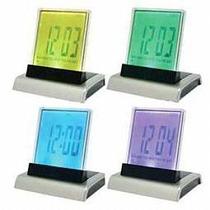 Reloj Trasparente Despertador Con Luz 4 Colores.