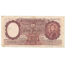 Billete 100 Pesos Moneda Nacional Bottero 2040 Año 1951