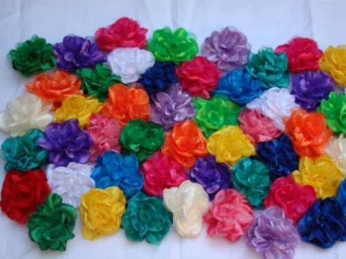 Flores de tela con pico para el pelo o prendedor hebillas - Flores de telas hechas a mano ...