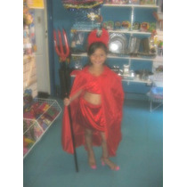 Disfraz Diablita Niñas 3 A 5 Años Diabla Cuernitos Halloween
