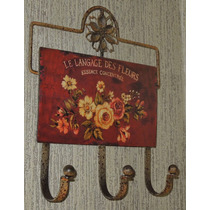 Perchero De Pared Hierro Chapa 3 Perchas Vintage Shabby Chic