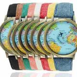 Reloj Pulsera Vintage Mapamundi Avion Gira X 5 Unidades Ya !