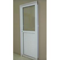 Puerta Aluminio Blanco 1/2 Vidrio Entero 70x200 C/cerradura