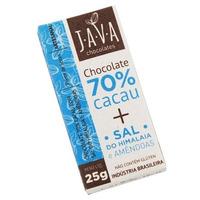 Chocolate 70% Cacau Organico Sal Rosa com Amendoas 25g Java