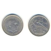 España, Moneda De 25 Pesetas De Cuproniquel, 1957 (58)-