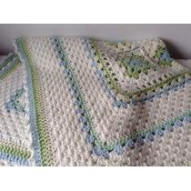 Manta Tejida A Mano Crochet 90*90 Cm Verde Blanca