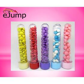 Envase Tubo Golosinero 13cm Tapa Color Souvenir Cumple Candy