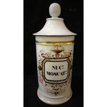 Antiguo Frasco De Farmacia De Porcelana Francesa ¡ Enorme !