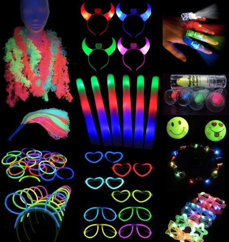 Combo Cotillon Luminoso Led Neon 100 Personas+ Labial Fluo F