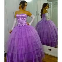 Vestido De 15- Larg Y Corto,enagua, Guantes