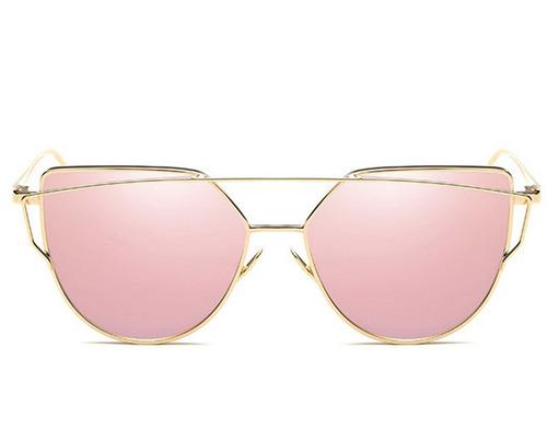 4d3308b666 Anteojos Sol Lentes Metal Espejados Gafas Plano Marco Mujer