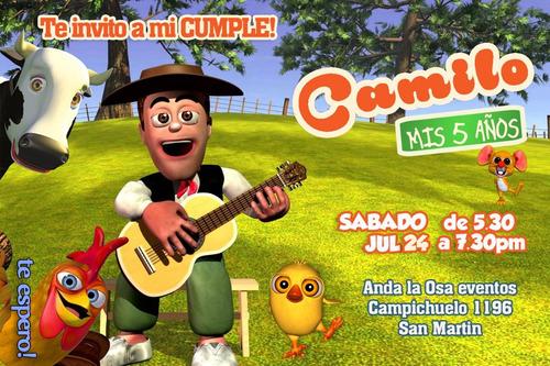 Tarjetas Invitaciones Cumpleaños La Granja De Zenón X10uni