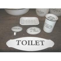 Cartel Enlozado Vintage -toilet- Enlozado 30cm X 10cm. Nuevo