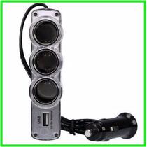 Adaptador Encendedor Auto Triple + Usb Cargador De 12v - 24