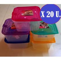 Tuppers Taper Plastico X 20u Hermatico Apto Microonda Freeze