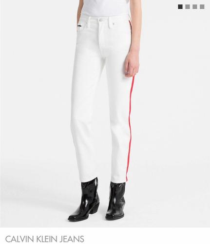 Jeans Calvin Klein Tiro Alto Blanco Mujer Talle 27 43771c1e69fa