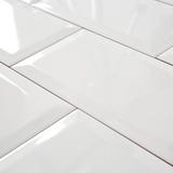 Azulejos Subway 7.5x15 Cm Blanco Brillante Biselado Marbella