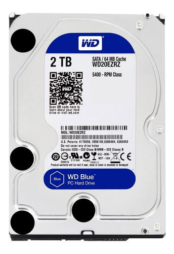 Disco Rigido 2tb Pc Western Digital Blue 64mb 5400rpm Sata3