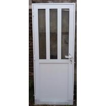 Puerta Exterior Aluminio 80x200 Mitad Vidrio Reforzada