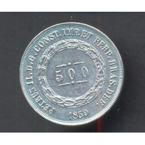 Moneda Brasil 500 Reis Km# 464 Año 1861 Plata Excelente