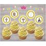 Topper Adorno Cupcake Cumpleaños Bautismo Comunión X 30