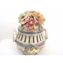 Jarron Centro De Mesa Florido De Porcelana Decorativo