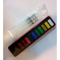 Set Acuarelas X12 Colores En Pastillas+3 Pinceles Waterbrush
