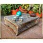 Mesa Pallet/palet Con Ruedas Reciclada Laqueada