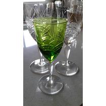 Juego De 6 Copas Talladas Para Vino Blanco Color Verde