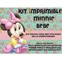 Kit Imprimible Minnie Mouse Bebe Floreado. Diseño Exclusivo!