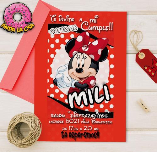 Tarjetas Invitaciones Cumpleaños Minnie Mouse X10uni En
