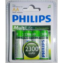 Pilas Aa Recargables Philips 2300mah Blister X 4u Ni-mh